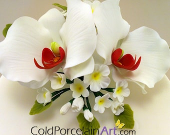 White Orchids Cake Topper - Cold Porcelain Art - Made to Order