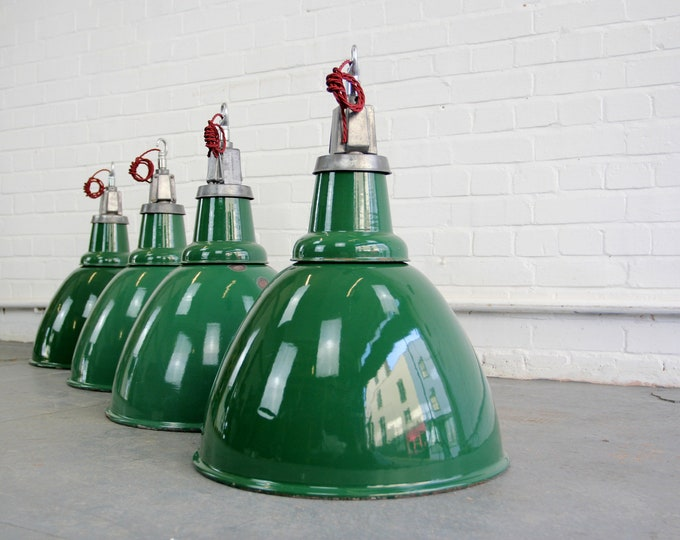 Locomotive Factory Industrial Pendant Lights By Thorlux Circa 1930s