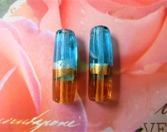Silver Blue lampwork tube beads and Topaz 31 mm set of 2