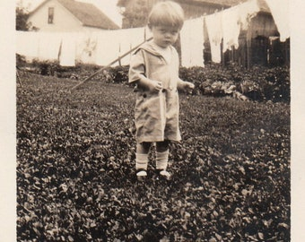 Original Vintage Photograph Snapshot Toddler Boy in Yard by Clothesline 1910s-20s