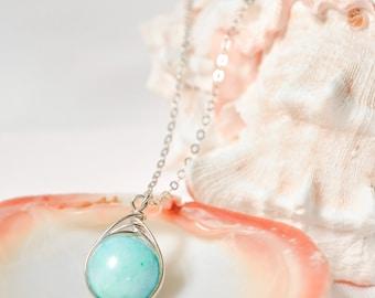 Blue Amazonite Drop Necklace