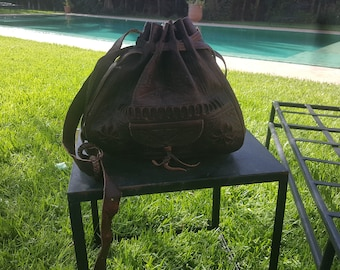 dark brown shoulder  leather bucket bags ,moroccan handcrafted leather  bucket bags,  leather bags