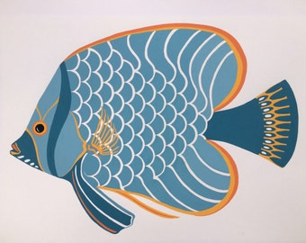 Mid century aqua fish coastal watercolor print