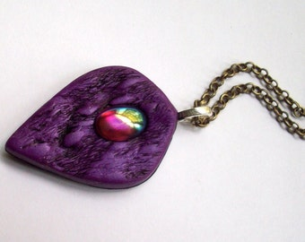 Pendant Necklace Polymer Clay Purple/Amethyst Vintage Cabochon, Organic Textures, Mother's Day Gift Idea