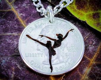 Ballerina Dancer necklace, Ballet Jewelry, hand cut coin