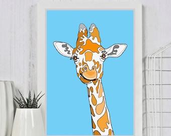 Giraffe Portrait Print