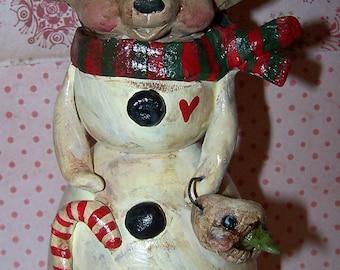 Folk Art Whimsical Chihuahua Dog Snowman Candle Holder Ooak