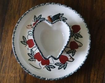 Chaparral Pottery Chip Dip Apple Tray, Chips and Salsa Plate, Veggie Plate, USA