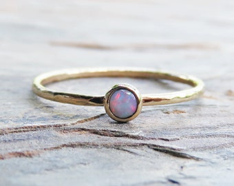 3mm Tiny Natural Opal in Solid 14k Yellow or Rose Gold, Australian Opal Stacking Ring, Smooth, Matte, or Hammered Band, October Birthstone