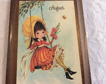Vintage 1974 August Birthday Wall Plaque for young Girl, Birthday Bouquet Collection, Poem, made in USA, Wallace berrie & Co. Wood plaque