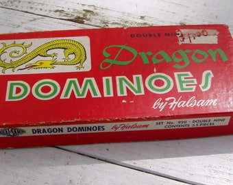 Dragon Dominoes, 55 pieces complete set in original box, 1950's