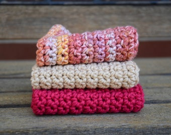 Three Crochet Cotton Dishcloth / Washcloth