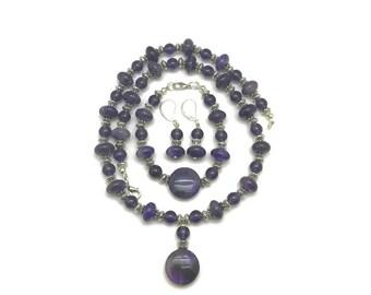 Amethyst Jewelry Set, Amethyst Jewelry, Amethyst Necklace, Purple Jewelry Set, Purple Earrings, Purple Pendant, Necklace and Earring Set