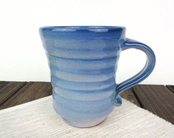 Turquoise Blue large ceramic pottery mug, large ceramic mug, coffee cup, clay cup, tea cup, hand thrown mug, hand crafted cup