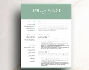 creative resume template for word u0026 pages green cv template 1 2 page