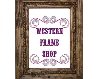 Cowboy Rope Picture Frame. Country Wood & Rope Picture Frame. Western frame with rope inlay. Rustic distressed frame. Nautical Decor.