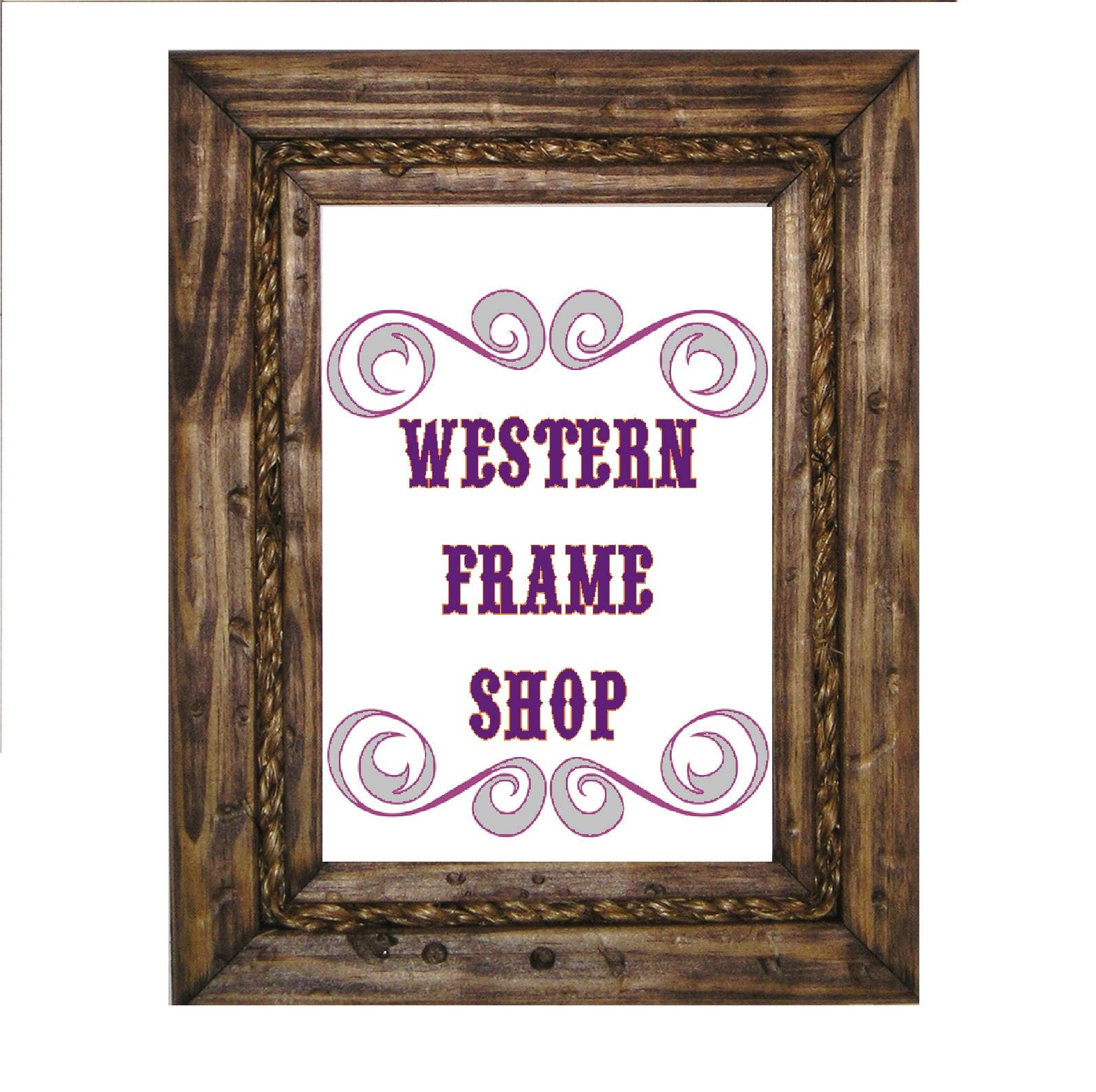 Nautical Rope Picture Frame. Cowboy Wood & Rope Picture Frame.