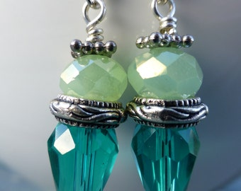Ten Dollar Earrings! Pale Green Faceted Rounds Blue Green Czech Glass Teardrops Jelly Pins Dangle Drops