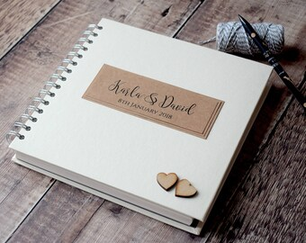 Classic Rustic Wedding Guest Book with Wooden Hearts, Personalised and Handmade Wedding Guestbook