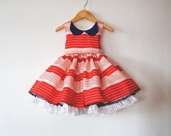 Little Sailor Party Dress with Petticoat