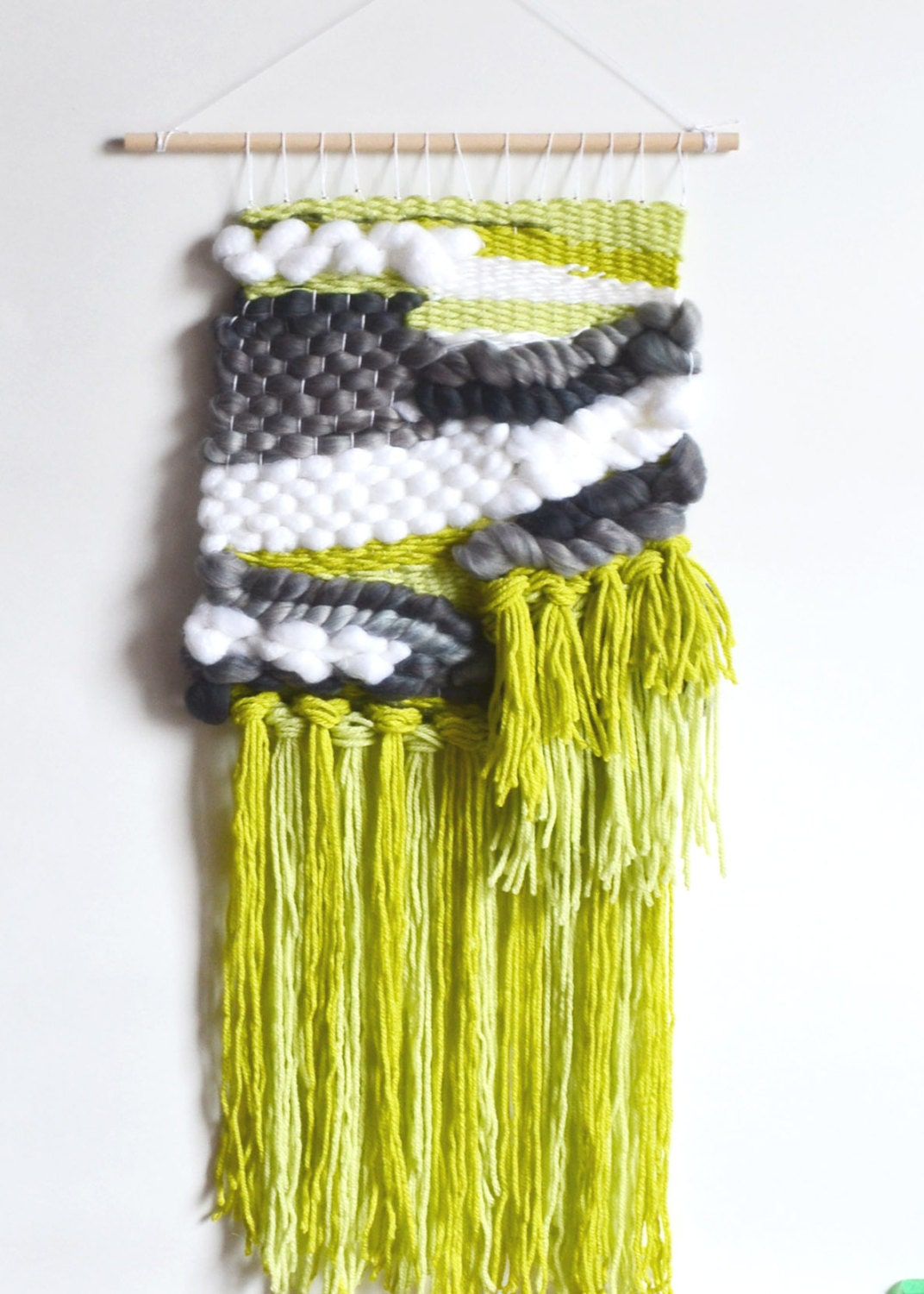 On Sale Green Wall Hanging Green White Grey Wall Weaving
