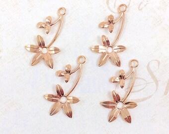 Rose Gold Flower, Brass Leaf Stamping, Flower Charm, Charm Drop, 16mm x 30mm - 4 pcs. (rg143)