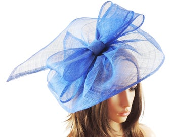 Commodore Royal Blue Fascinator Hat for Weddings, Races, and Special Events With Headband