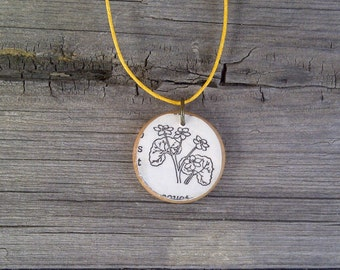 Cowsilps Flower Pendant // Pendant Necklace with Adjustable Cord