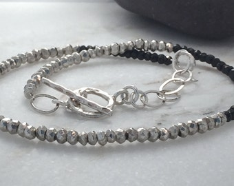 Bracelet wrap double layer Black Spinel Pyrite gemstone chain sterling silver toggle clasp classic genuine layering handmade
