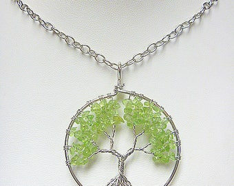 Tree of Life Wire Wrapped Pendant Necklae   hippie   handmade jewelry  wicca