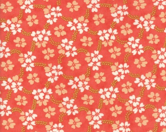 Fig Tree Fabric - Ella and Ollie Fabric Yardage - Moda Quilt Fabric - Coral & Red Floral Fabric By The 1/2 Yard -
