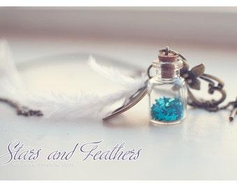 Glass Bottle necklace vial necklace. White Featwomen and stars glass Bottle Pendant. miniature bottle. bronze necklace . CUSTOM STARS COLOR.