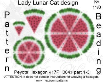 Watermelon peyote pattern, Hexagon peyote pattern, Summer fruit, Fruit peyote, Summer patterns, Peyote stitch, Beading patterns