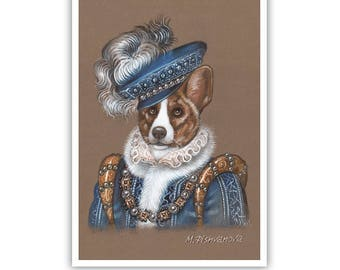 Welsh Corgi Cardigan Art Print - The King - Royal Dog Wall Art - Pets in Costumes - Whimsical Dog Portraits by Maria Pishvanova