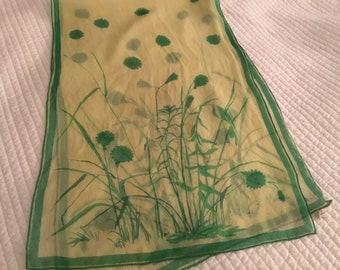 Vintage Vera Silk Scarf Long Verasheer Greens Chiffon Ladybug 60's Sale
