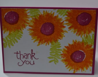 Hand Stamped Fuchsia Flowers Thank You Card