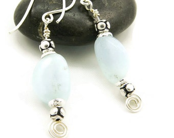 March Birthstone Aquamarine Gemstone Sterling Silver Dangle Earrings - Artisan Jewelry