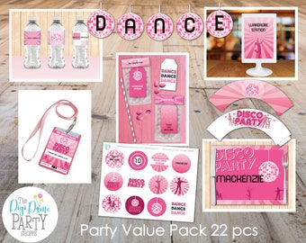 Disco Dance Party Printable Value Pack, 22 pcs - Pink, White and Black - Instant Download and Editable - Girls Birthday Parties