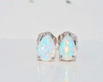 Opal Pear Shape Stud Earrings .925 Sterling Silver Rhodium Finish