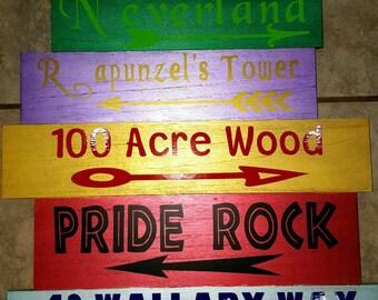 Disney Direction Wood Sign