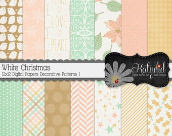 Christmas Digital Paper White Christmas Digital 12x12 Patterns 1 Holiday Seasonal Papers and Backgrounds for INSTANT DOWNLOAD
