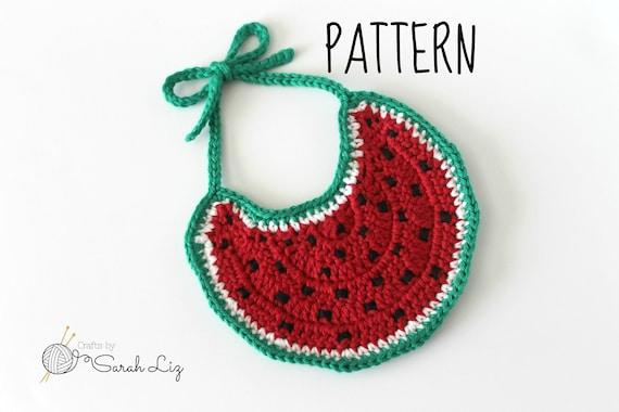 Pattern Crochet Watermelon Baby Bib Drool Bib Pattern Baby Bib