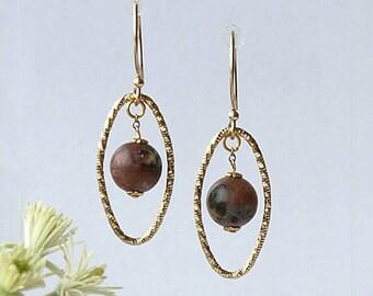 planet earrings, planet earrings Pluto, planet earrings marble, planet earrings gold, PLUTO, gold filled earwires