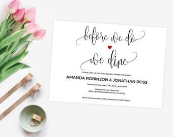 Rehearsal Dinner Invitation - Before We Do We Dine Invitation - Editable wedding invitations - Downloadable wedding invitations #WDH0079