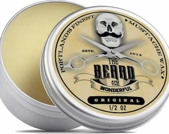 The Beard & The Wonderful, Portland Moustache Wax. 1/2 Oz tins (15ml) Unscented