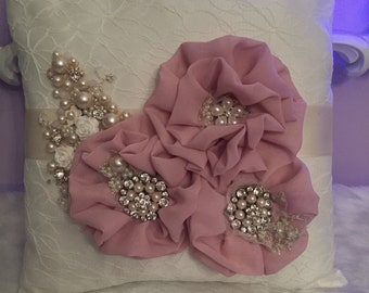 Dusty rose Hand made ring/ crown crown pillow