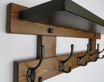 5 Hook coat rack with shelf