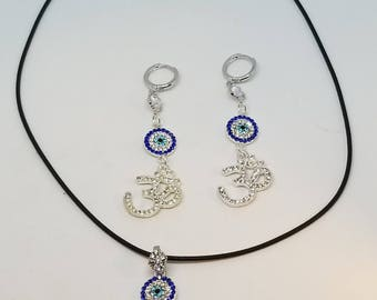 Set Gold Plated Earring Om Evil Eye Decorated With Charm Handmade