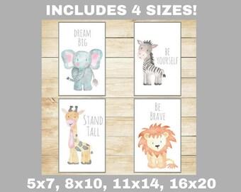 Safari Nursery Decor, Nursery Wall Art, Baby Animal Prints, Jungle Animals, Wall Decor, Kids Room Elephant Giraffe Zebra Lion Set of 4
