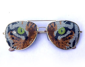 Wild Jungle Graphic Tiger Face Eyes Party Sunglasses Aviator Shades